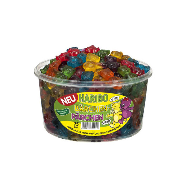 Haribo Bärchen-Pärchen - Mix sladkokyselých želé medvídků 1200g (dóza 75 ks)