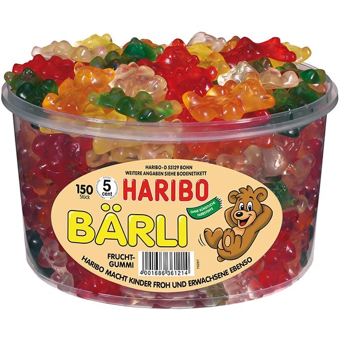 Haribo Bärli - Želé bonbony velcí medvídci 1200g (dóza 150ks)